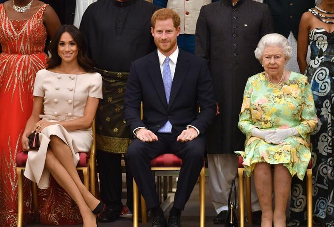 Meghan Markle, Harry y la reina Isabel II