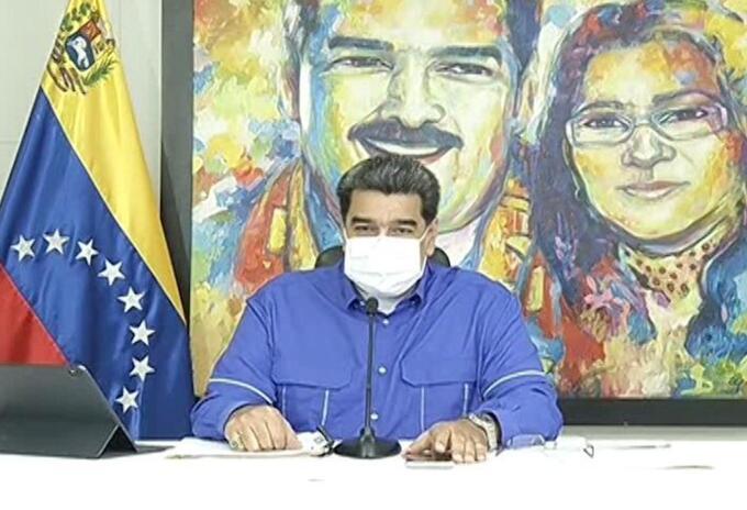 Nicolás Maduro con tapabocas, 7 de marzo de 2021