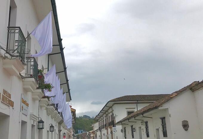 Argelia y otros municipios del Cauca colgaron sus banderas en las fachadas de sus casas, como símbolo derechazo a la violencia.