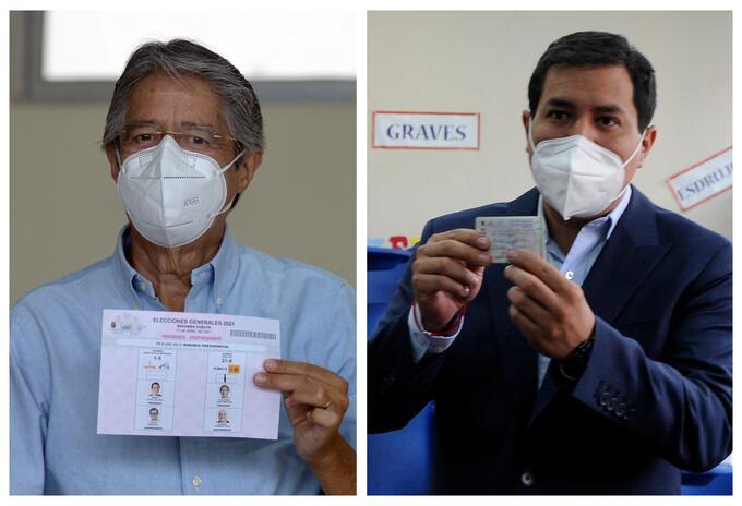 Guillermo Lasso y Andrés Arauz votaron en las elecciones en Ecuador