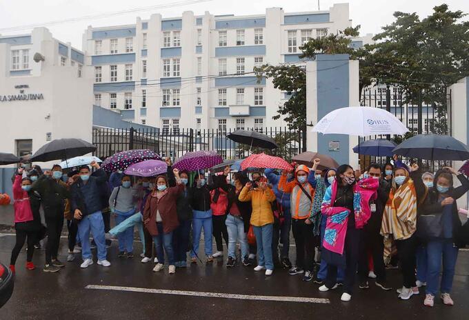 Empleados del hospital La Samaritana protestaron en el sur de Bogotá