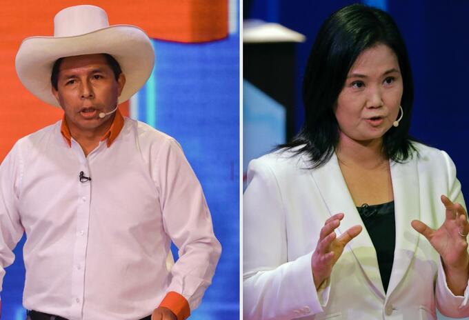 Pedro Castillo y Keiko Fujimori, candidatos a la presidencia de Perú