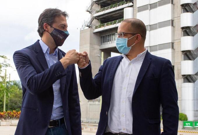 El alcalde de Medellín, Daniel Quintero, y gerente de EPM, Jorge Carrillo.