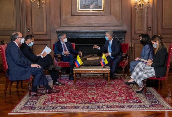 El presidente Iván Duque, se reunió en Casa de Nariño con el presidente electo de Ecuador, Guillero Lasso