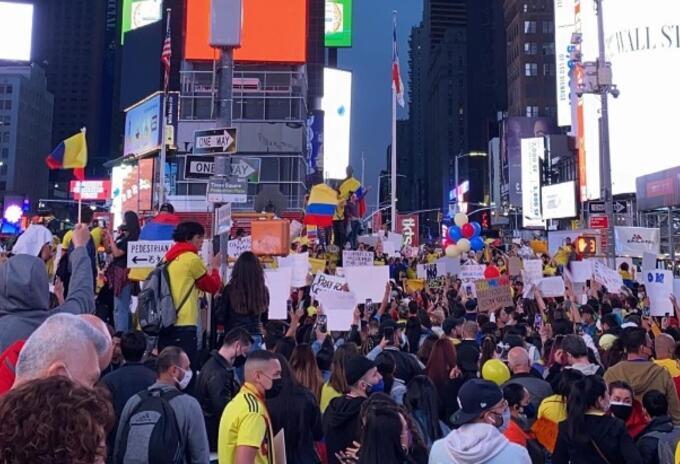 Colombianos protestas Nueva York