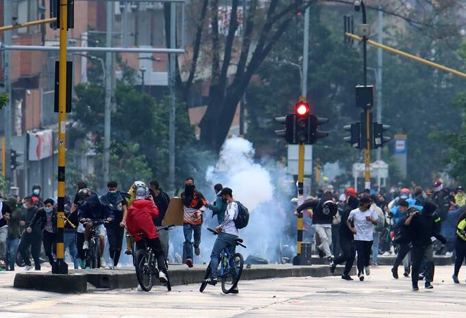 Disturbios en Bogotá durante las marchas del 1 de mayo de 2021