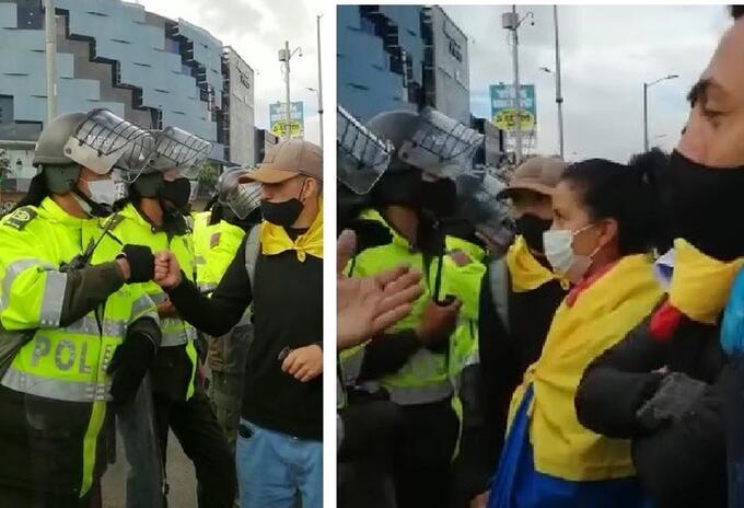 Manifestantes en Suba dialogan con la Policía