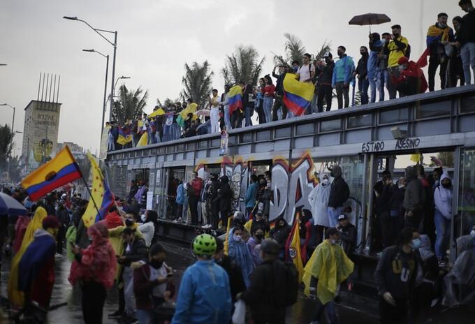 Protestas en Bogotá el 28 de mayo de 2021 en el sector de Héroes.