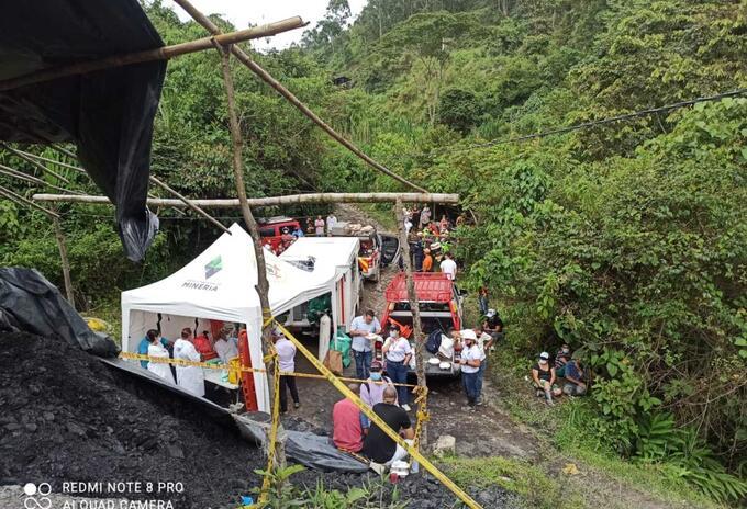 Lugar de la emergencia en una mina en Amagá, Antioquia.