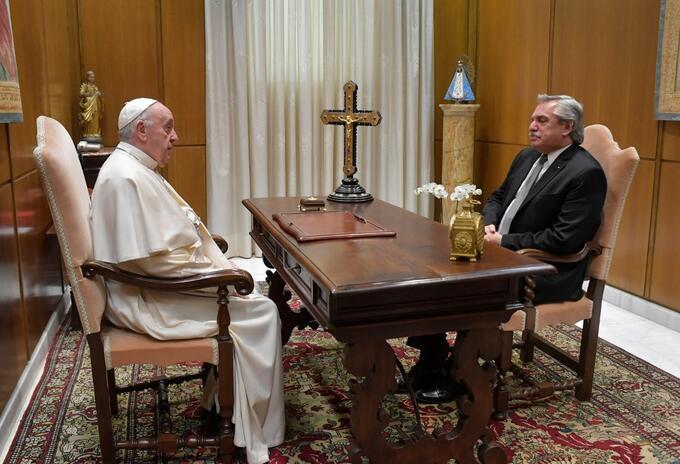 Papa Francisco y Alberto Fernández, presidente de Argentina