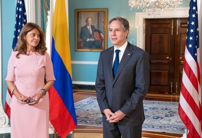 Canciller Marta Lucía Ramírez con el secretario de Estado de EEUU, Antony Blinken