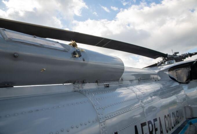 Helicóptero en el que se movilizaba Duque