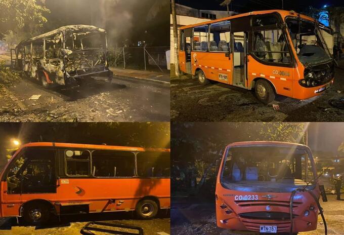 Capuchos vandalizaron cuatro busetas, una de ellas fue incinerada en inmediaciones de la UT