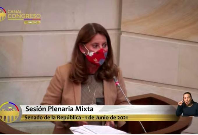 Marta Lucía Ramírez en el Congreso