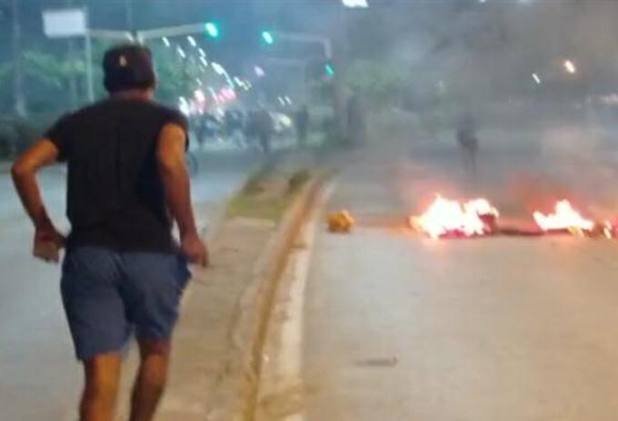 Enfrentamiento entre manifestantes y Policía