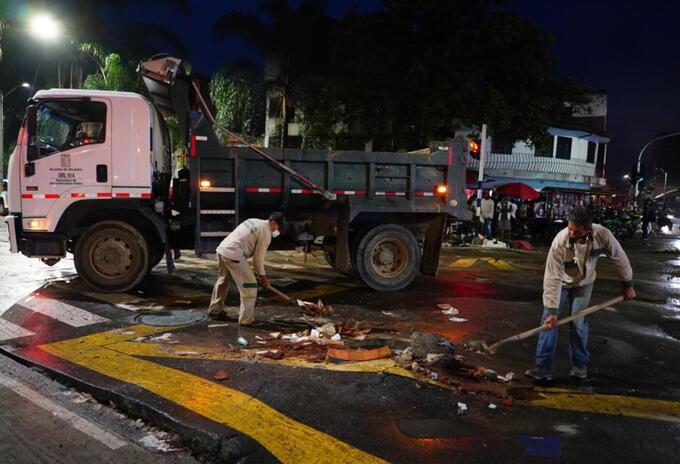 Daño en la Avenida De Greiff en el centro de Medellín.