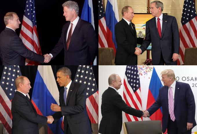 Vladimir Putin y los presidentes de Estados Unidos