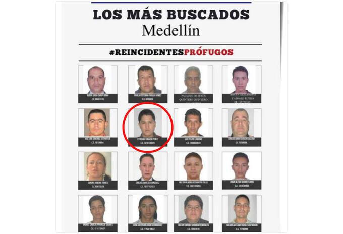 Cartel de los reincidentes más buscados en Medellín